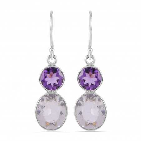 Amethyst and Crystal Natural Minerals 925 Sterling Silver Earrings