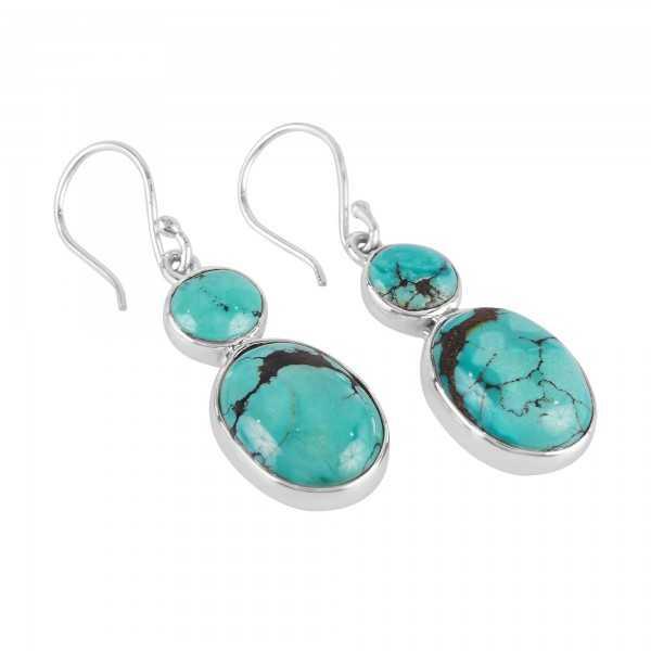 Tibetan Turquoise Two Stone Earring, 925 Silver Earrings, Silver and Gemstone Earrings