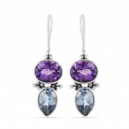 Amethyst Blue Topaz Handmade Sterling Silver Earrings