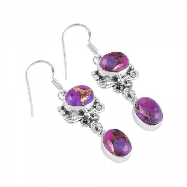 Purple Copper Turquoise Handmade 925 Sterling Silver Earring