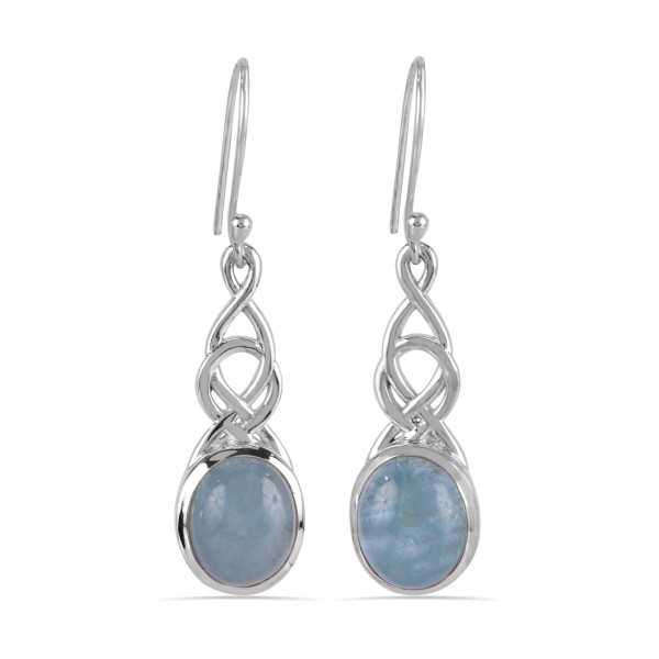 Aquamarine Natural Gemstone Solid Sterling Silver Earring