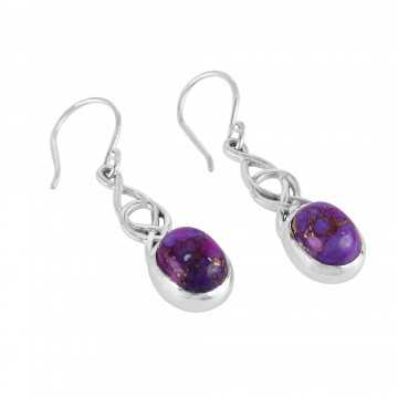 Purple Copper Turquoise and 925 Silver Earring
