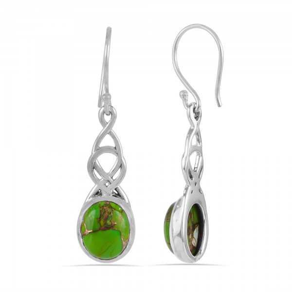 Green Copper Turquoise Dangle Drop 925 Silver Earring