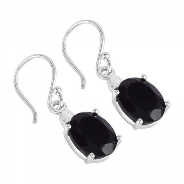 Black Onyx and 925 Silver Dangle Earring