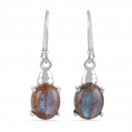 Labradorite Gemstone Handmade Solid Silver Earrings