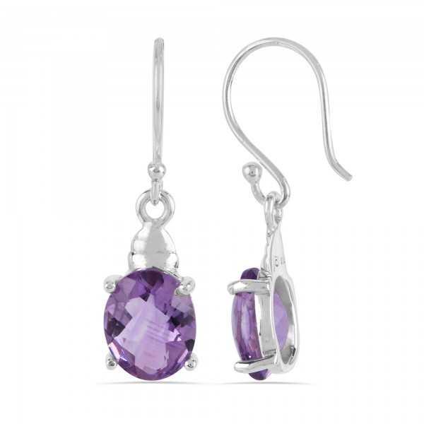Natural Purple Amethyst 925 Sterling Silver Earrings
