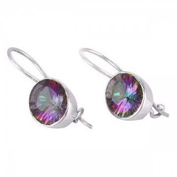 Natural Mystic Quartz Gemstone 925 Sterling Silver Earring Jewelry