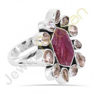 Real Raw Ruby Gemstone with Herkimer diamond Solid Sterling Silver Ring