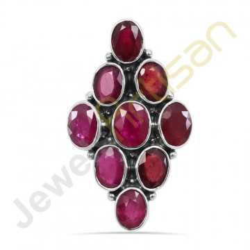 Real Glass Field Ruby Gemstone Solid Sterling Silver Ring