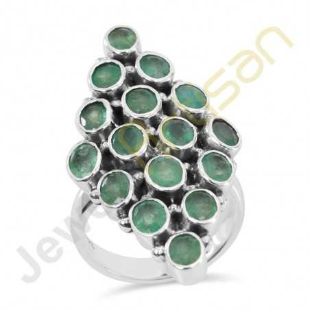 Natural Faceted Green Emerald Gemstone Solid Sterling Silver Statement Ring