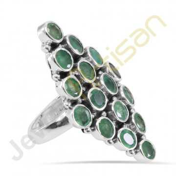 Natural Emerald Gemstone Solid Sterling Silver Ring
