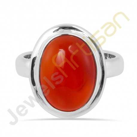 Natural Carnelian Solitaire Gemstone Solid Sterling Silver Ring