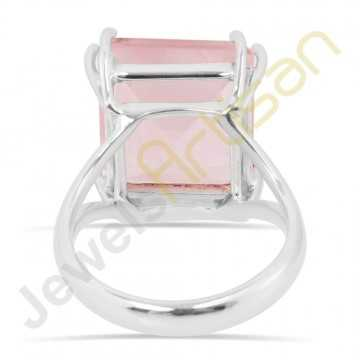 Natural Pink Rose Quartz Solitaire Gemstone Solid Sterling Silver Ring