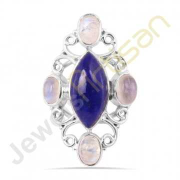 Natural Lapis Lazuli and Rainbow Moonstone Solid Sterling Silver Ring
