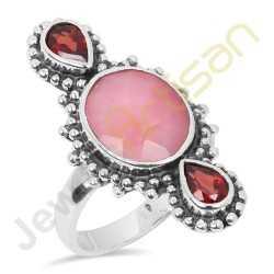 Natural Pink Opal, Garnet Multigemstone Solid Sterling Silver Handmade Ring