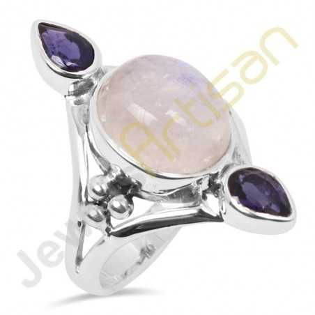 Natural Blue Moonstone Iolite Multi gemstone Solid Sterling Silver Statement Ring