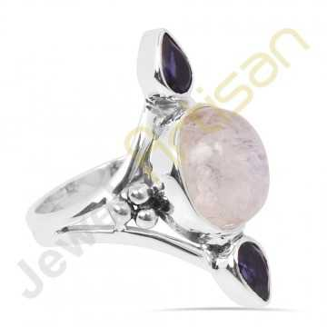 Natural Blue Flashy Rainbow Moonstone and Iolite Multigemstone Solid Sterling Silver Ring