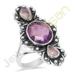 Amethyst, Rainbow Moonstone Multigemstone Solid Sterling Silver Ring