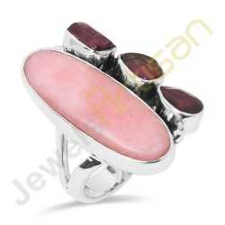 Natural Pink Opal, Tourmaline, Garnet Multigemstone Solid Sterling Silver Ring