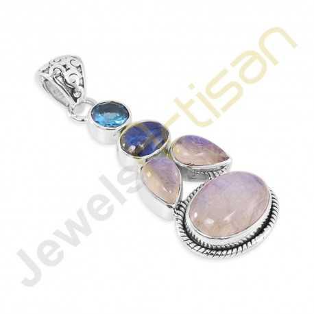 Rainbow Moonstone, Kyanite, Blue Topaz Gemstone Sterling Silver Pendants