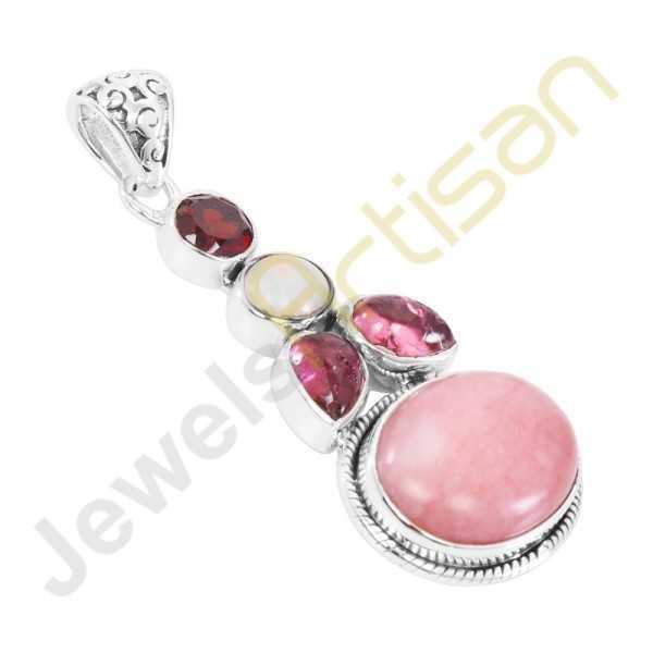Pink Opal, Ethiopian Opal, Tourmaline, Garnet Gemstone Sterling Silver Pendants