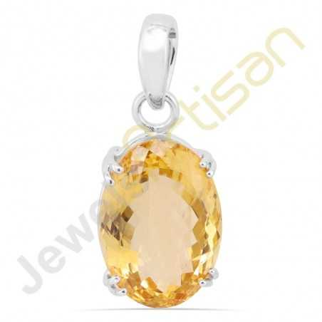 Citrine faceted Gemstone Prong Setted Sterling Silver Handmade Pendants