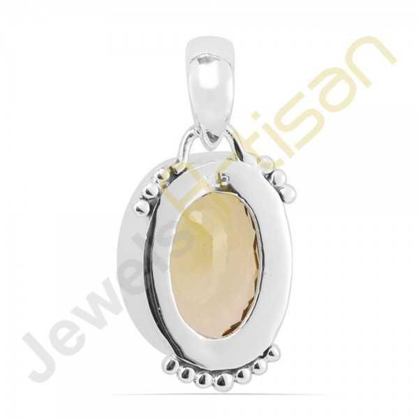 Natural Citrine faceted Gemstone Sterling Silver Handmade Pendants
