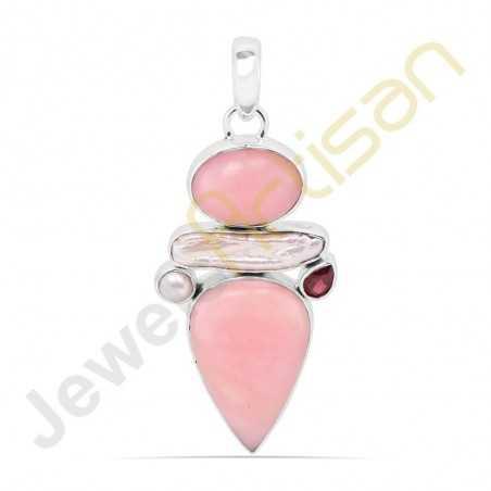 Natural Pink Opal, Garnet, Pearl Sterling Silver Handmade Pendants