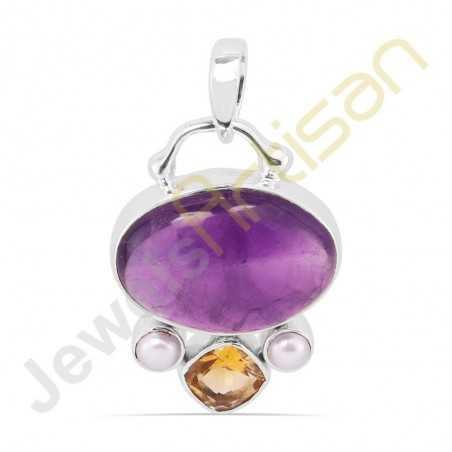Purple Amethyst, Citrine, Pearl Sterling Silver Handmade Pendants