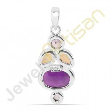 Purple Amethyst, Citrine, Pearl and Blue Topaz Sterling Silver Handmade Pendants