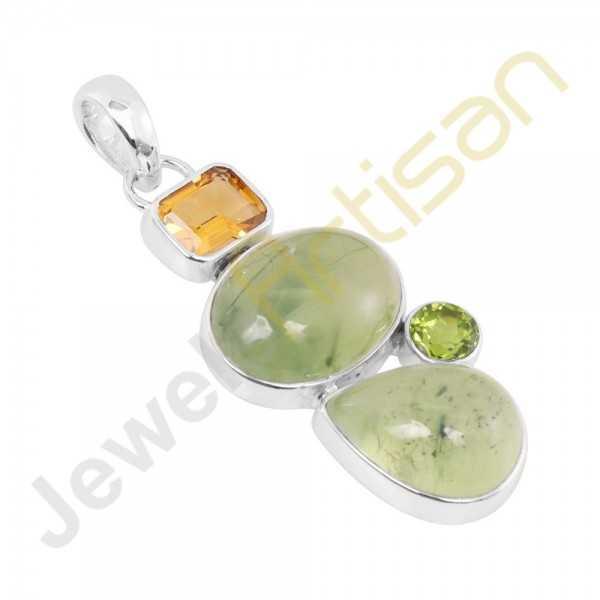 Prehnite, Citrine, Peridot Multi Gemstone 925 Silver Pendant