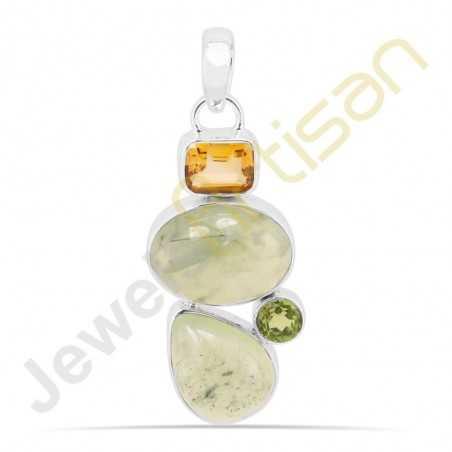 Wholesale Jewelry Prehnite Citrine Peridot Sterling Silver Pendant