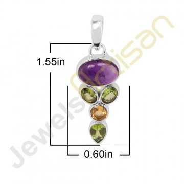Purple Amethyst, Citrine, Peridot Gemstone 925 Sterling Silver Pendant