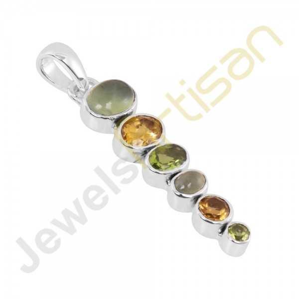 Citrine, Peridot, Prehnite Gemstone 925 Sterling Silver Pendant