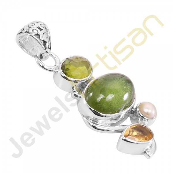 Idocrase, Citrine, Peridot, Pearl Gemstone 925 Sterling Silver Pendant