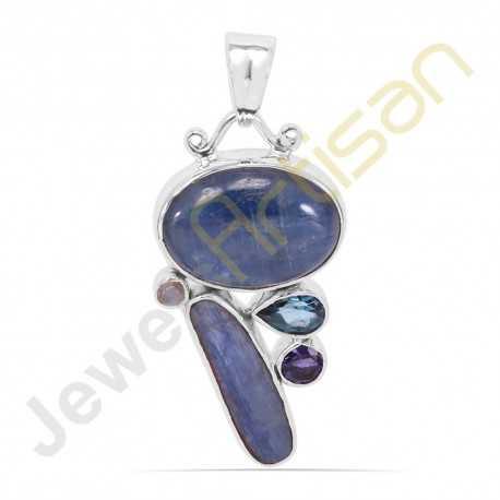 Kyanite, Rainbow Moonstone, Iolite, Blue Topaz Gemstone 925 Sterling Silver Pendant