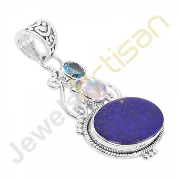 Lapis Lazuli, Rainbow Moonstone and Blue Topaz Gemstone 925 Sterling Silver Pendant