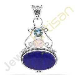 Lapis Lazuli, Rainbow Moonstone and Blue Topaz Gemstone 925 Sterling Silver Pendant