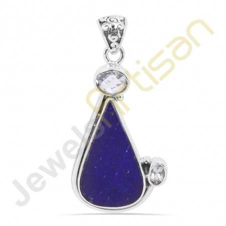 Lapis  Lazuli and Blue Topaz Gemstone 925 Sterling Silver Pendant