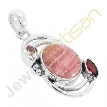 Rhodochrosite, Garnet, Crystal Gemstone 925 Sterling Silver Pendant