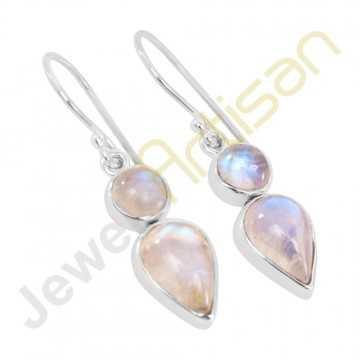 Rainbow Moonstone Gemstone Two Stone Handmade Sterling Silver Earrings
