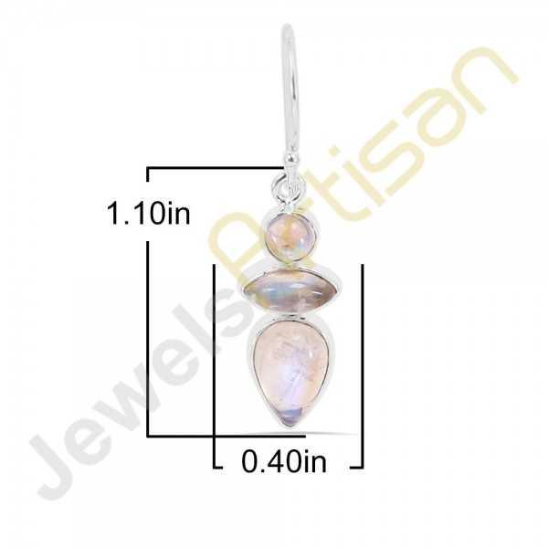 Rainbow Moonstone Gemstone Handmade Sterling Silver Earrings