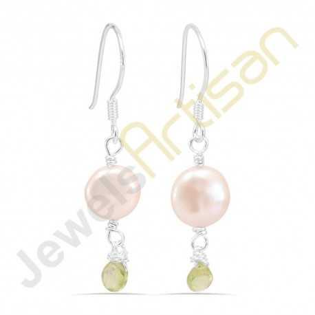 Fresh Water Pearl and Peridot Gemstone Handmade sterling silver Earrings