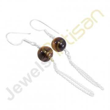 Real Tiger's Eye Gemstone Handmade Solid Sterling Silver Earrings
