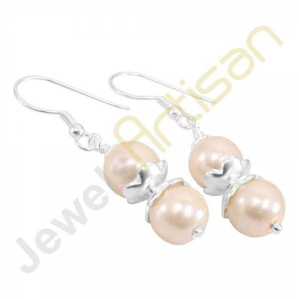 Natural Pearl Gemstone Handmade Sterling Silver Earrings