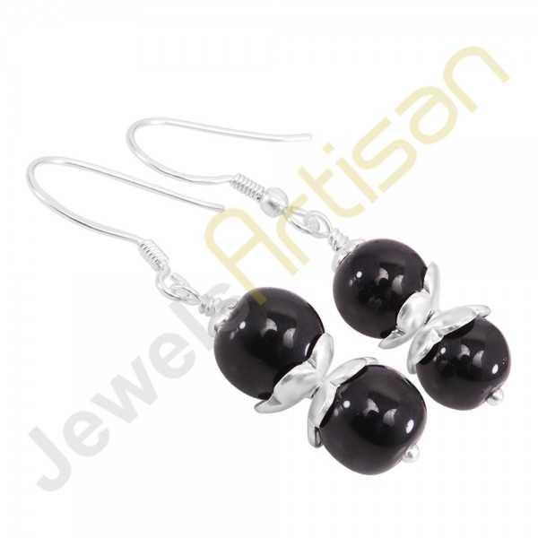 Genuine Black Onyx Gemstone Handmade Sterling Silver Earrings