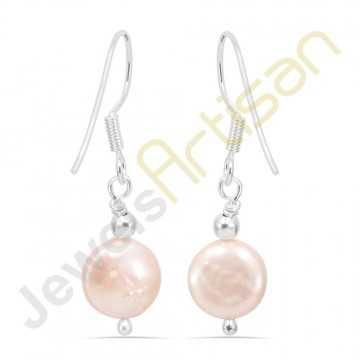 Natural Fresh Water Pearl Gemstone Handmade sterling silver Earrings