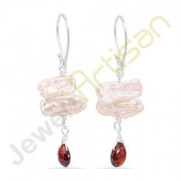 Biwa Pearl and Garnet Gemstone Handmade sterling silver Earrings