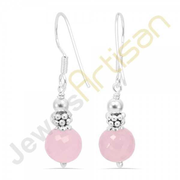 Rose Quartz Gemstone Handmade sterling silver Earrings