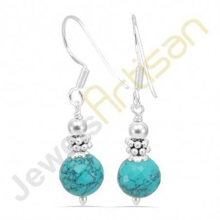 Turquoise Gemstone Handmade sterling silver Dangle Earrings
